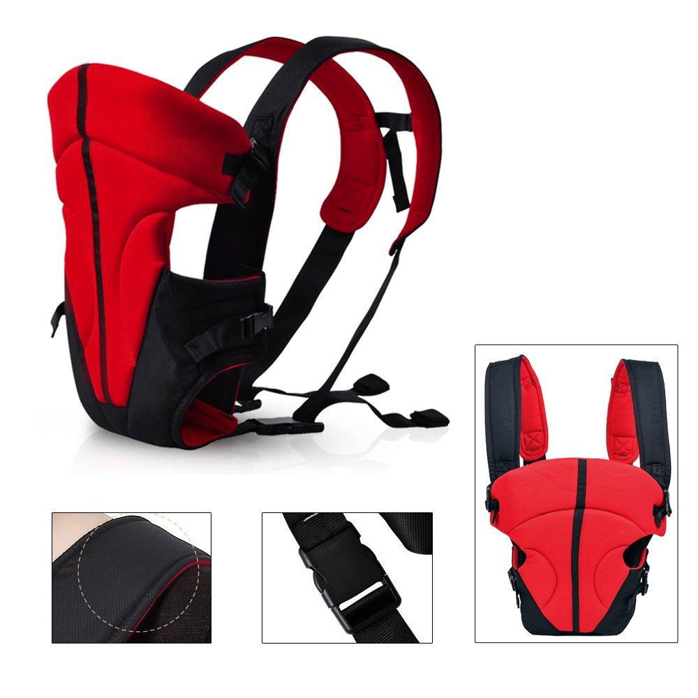 HJ/® Baby-und Kindertrage Comfort Babytrage Bauch und R/ücken 3.6-9.1KG 3-18 Monate Hochrot