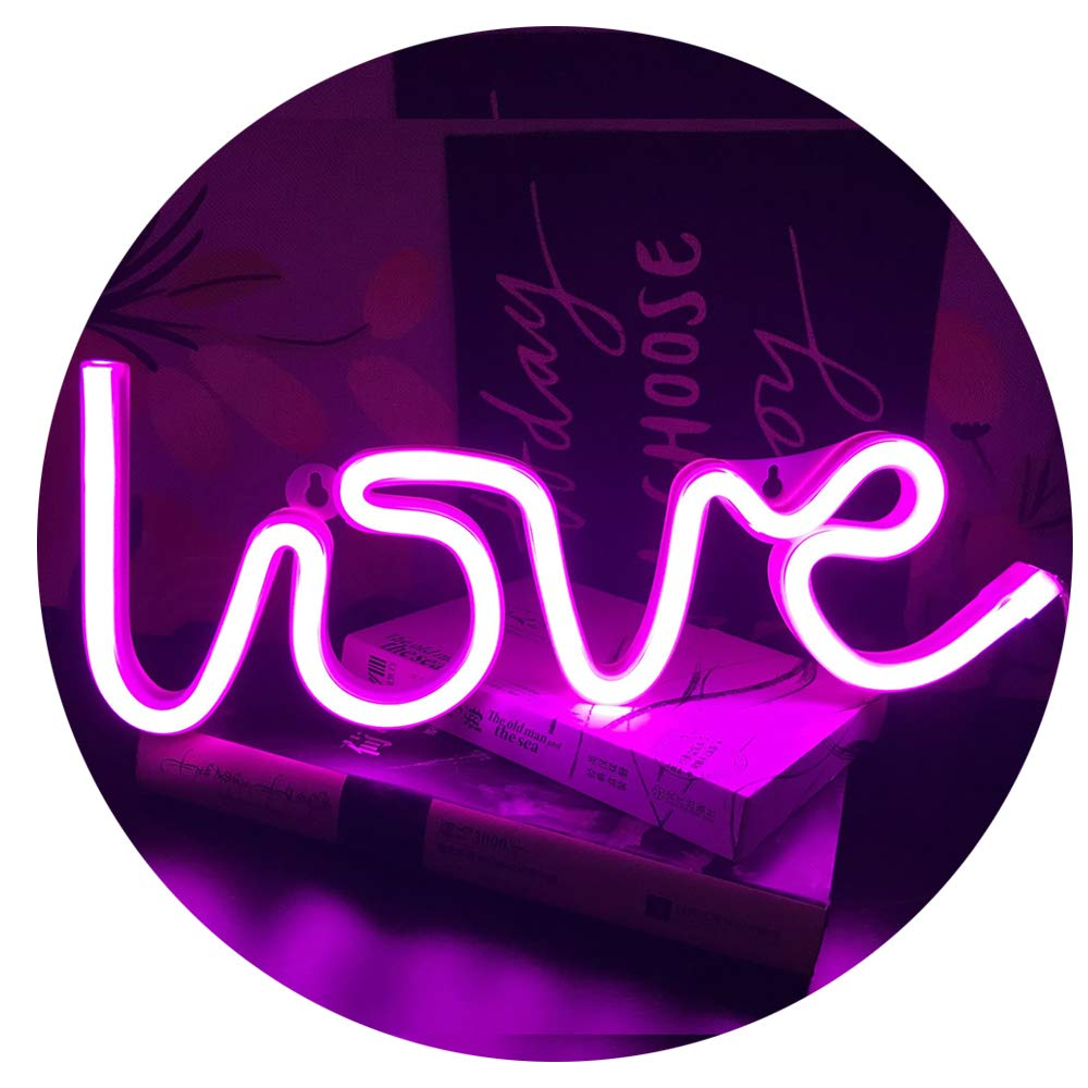 QiaoFei Neon Love Light 13.70'' Large LED Love Art Decorative Marquee Sign - Wall Decor/Table Decor for Wedding Party Kids Room Living Room House Bar Pub Hotel Beach Recreational (Purple Pink)
