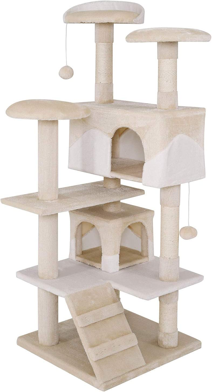 dibea Árbol rascador árbol para escalar árbol rascador para gatos Altura 130 cm beige/blanco