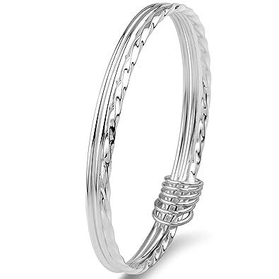 Merdia 925 Sterling Silver Bangle Bracelets Fashionable Three Interlocking for Girls and Women (6cm 20g) oXTJKk7a