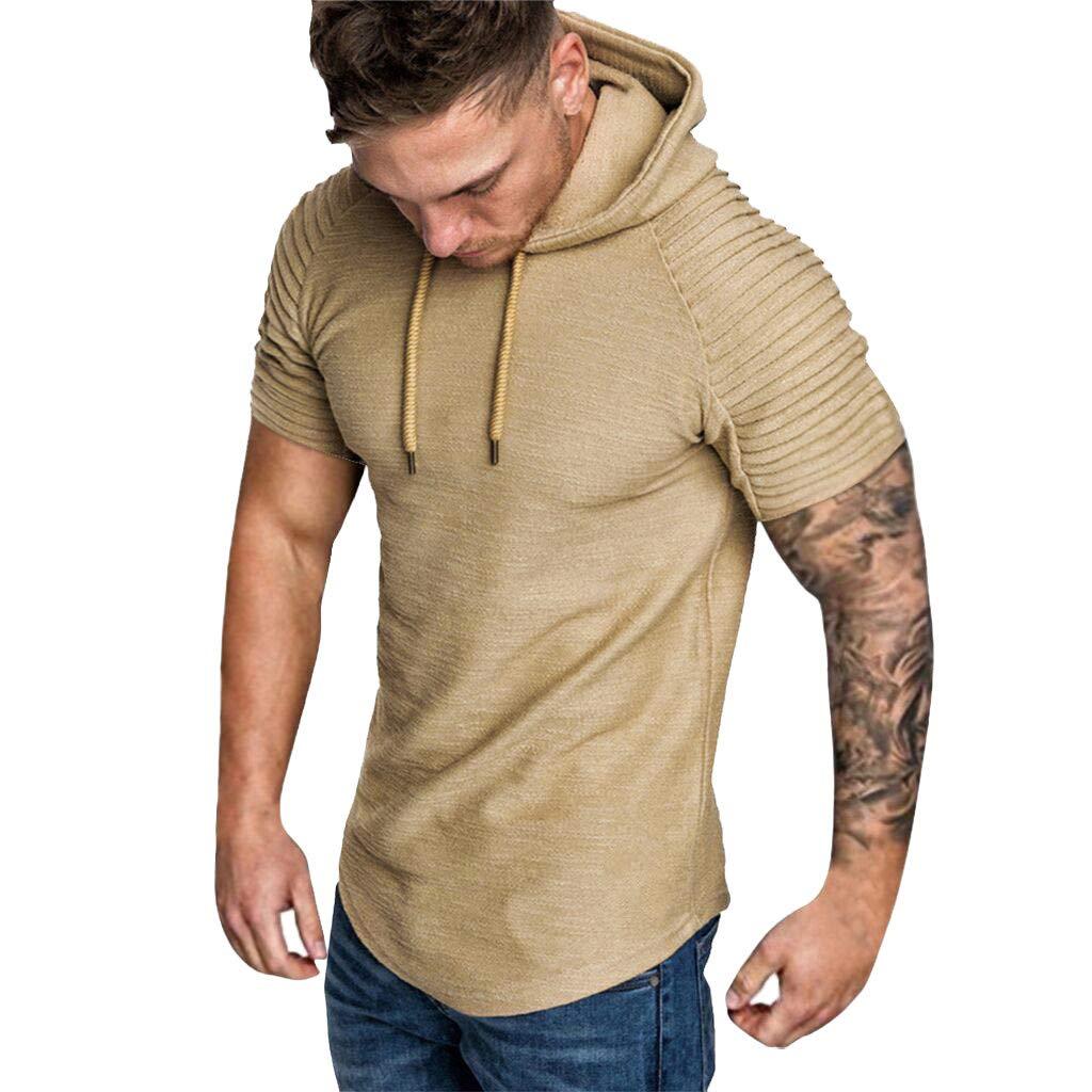 Allywit M-3XL Mens Pleated Slim Fit Raglan Short Sleeve Hoodie Top Blouse Khaki