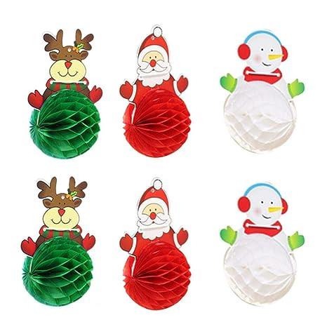 iStary Decoraciones De Navidad Santa Claus Muñeco De Nieve Papel Bola Garland Festival Lugar Arreglo Papel