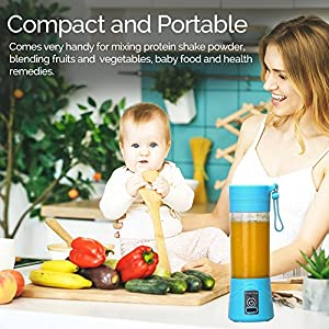 Hot Homey Portable Rechargeable USB Juicer Cup - Water Bottle - 380ml Personal Electric Fruit Mixer, Protein Shaker & Blender with USB Charger Cable - Perfect for Home Office Travel and Outdoors