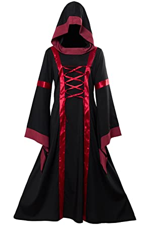 Hibuyer Womens Renaissance Medieval Vintage Long Dress Hooded Fancy Gown Victorian Costume (S)