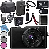 Panasonic Lumix DC-GX850 Micro Four Thirds Mirrorless Camera with 12-32mm Lens (Black) + DMW-BLH7 Lithium Ion Battery + Charger + Sony 64GB Card + Case + Remote + Fibercloth + Tripod + Flash Bundle
