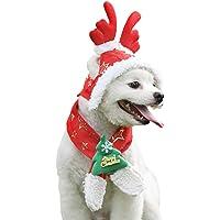 NICREW Gorro de Navidad para Mascotas, Disfraces de Navidad Cosplay Sombrero de Navidad Bufanda Traje de Navidad Set Ideal para Perros y Gatos Peque?os