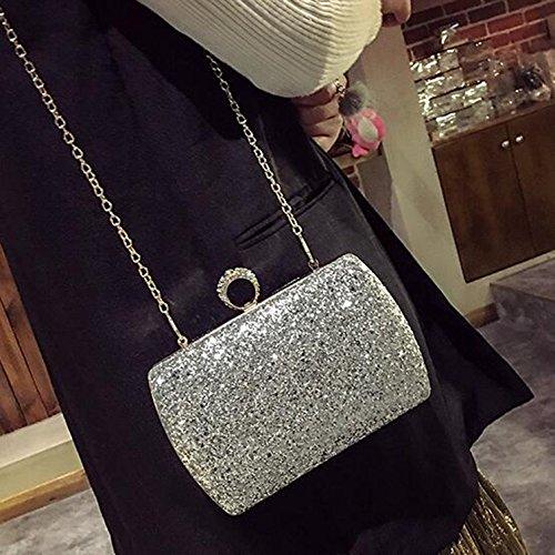soirée Noir en obliques le en paquet diamant Couleur à diamant tenant sacs paillettes sac brillante diamant banquet Silver brillant embrayage paquet cuir main Sac main gdCqwg7
