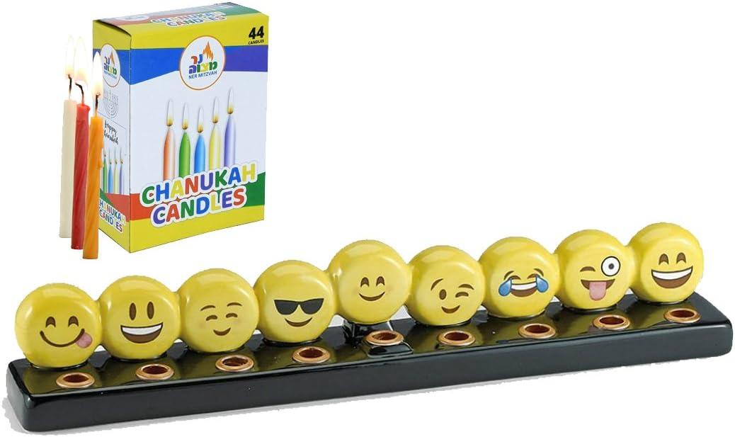 Emoji Menorah Set - Box of 44 Colorful Candles 1 1 Emoji Menorah and