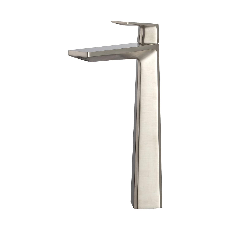 Kraus KEF-15300-Pop Up15BN Modern Aplos Single Lever Vessel Bathroom Faucet with Matching Pop-up Drain, Brushed Nickel by Kraus B014KE7S4W  つや消しニッケル