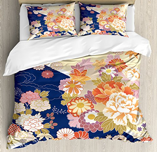 Ambesonne Japanese Duvet Cover Set King Size, Traditional Kimono Motifs Composition Asian Ethnic Floral Patterns Vintage Artwork, Decorative 3 Piece Bedding Set with 2 Pillow Shams, ()
