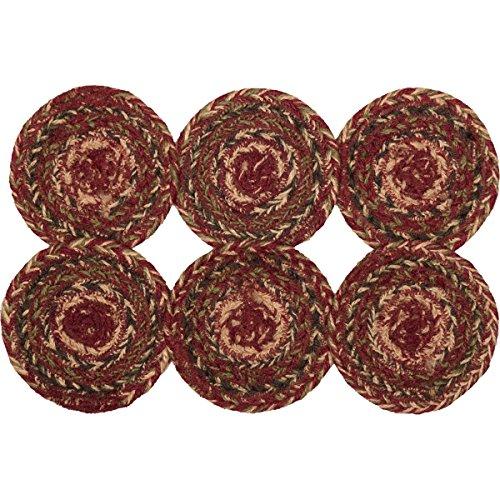 Coaster Kitchen - VHC Brands Burgundy Red Primitive Country Tabletop & Kitchen Cider Mill Jute Coaster Set of 6