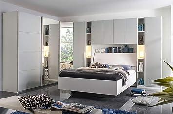 lifestyle4living Schlafzimmer Komplett Set in weiß und grau, 8 ...