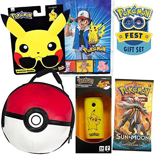 Pikachu Pokemon Go Fest Gift Set by ColorBoxCrate, Includes Pikachu Sunglasses, Pokeball Lunch Bag, Pokemon Sun Moon Cards Pack, Portable Pikachu Backup, Plus Vintage Ash and Pikachu Pokemon Gift Bag
