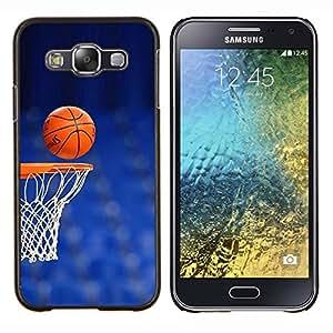 Qstar Arte & diseño plástico duro Fundas Cover Cubre Hard Case Cover para Samsung Galaxy E5 E500 (Cancha de Baloncesto aro)
