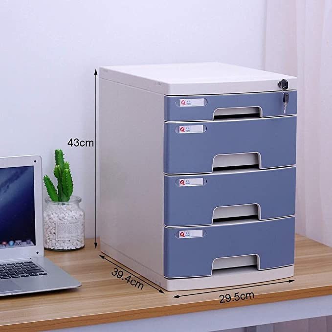 Home Office Furniture File Cabinets Easy Accessfile Cabinets Desktop Storage Box Office Furniture Archive Cabinet Large Space Lock High Capacity Plastic 27X25.9X36cm