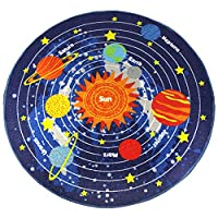 "HUAHOO Blue Solar System Kids Area Rug Educational Learning Carpet Fun Rug Children Area Rug for Playroom & Nursery - Non Skid Gel Backing (79"" Round, Round Stars)"