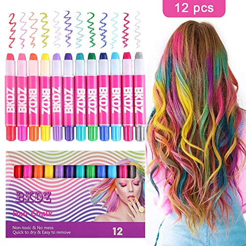 Hair Chalk Color Set for Girls Kids Christmas Birthday Gifts, 12 Colors Temporary Non-Toxic Portable Hair Chalk Pens For…