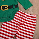 Chinatera 3pcs Baby Boys Girls Christmas Jumpsuit Clothes Long Sleeves Pocket Hooded Romper Christmas Elf Costume Cloth
