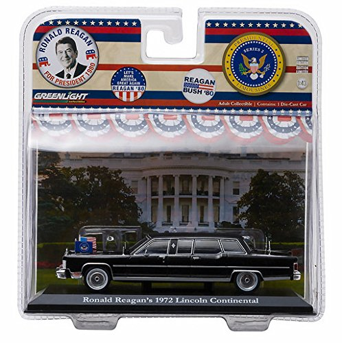 Ronald Reagan's 1972 Lincoln Continental Limousine, Black - Greenlight 86120 - 1/43 Scale Diecast Model Toy Car