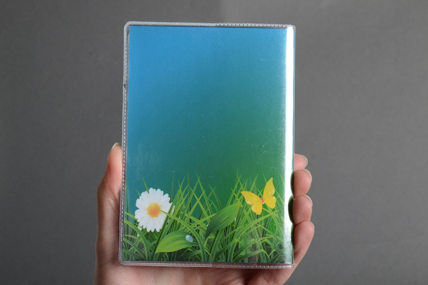 Handmade Plastic Passport Cover With Floral Photo Print Gift Idea For Girl