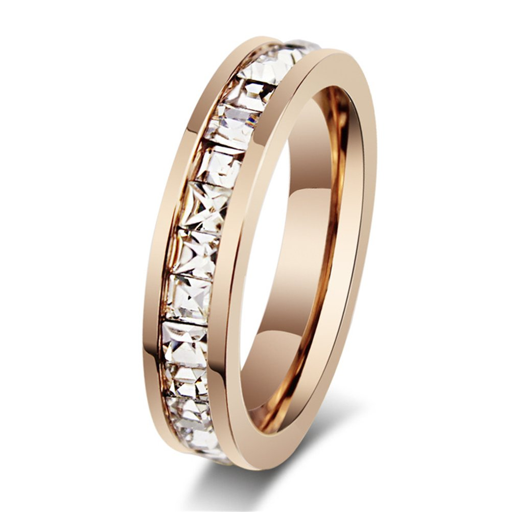 Womens Stainless Steel Rose Gold Wedding Ring Channel Set Cubic Zirconia Engagement Eternity Band for Her Size 9