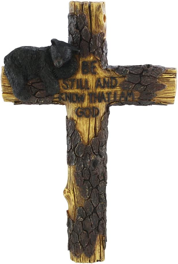 "Pine Ridge Magnificent 10"" Black Bear Wall Cross - Beautifully Hand-Painted and Crafted Polyresin for God-Fearing Hunters, Wildlife Lovers and Outdoorsman - Great for Arts and Crafts"