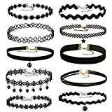 Areke Womens Velvet Choker Necklaces,Gothic Tassel Lace Tattoo Necklace for Girls Set of 8 - 12 Pcs Style 10 Pcs offers