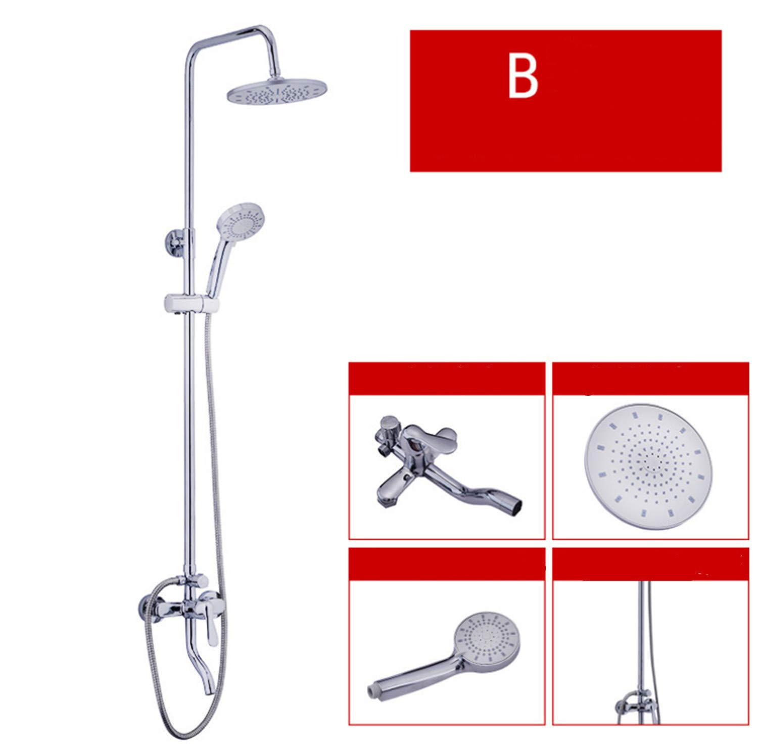 UNIQUE-F Shower System Various Spray Pattern White Chrome-Plated Stainless Steel Wear-Resistant Rust-Proof Polished 2 Styles
