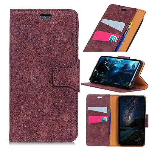 Scheam for Alcatel U5 3G (5.0 inch) Genuine Leather Wallet Case Cover, Flip Stand, Card Slot, Stylish, Purple