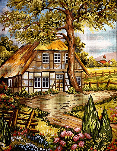 Needlepoint Kit Country landscape 9x11.8 23x30cm printed canvas cod.138 Aidalux