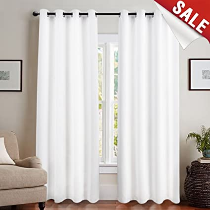 jinchan White Blackout Curtain Liner for Living Room 100% Blackout Curtains  for Bedroom Energy Saving Room Darkening Window Coverings Grommet Top 95 ...
