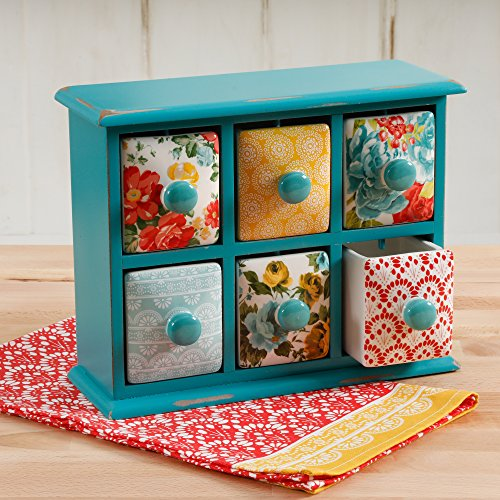 - The Pioneer Woman Vintage Floral 6-Ceramic Drawers Spice /Tea Box With Unique Patterns (Ceramic Drawers Are Removable And Dishwasher Safe)