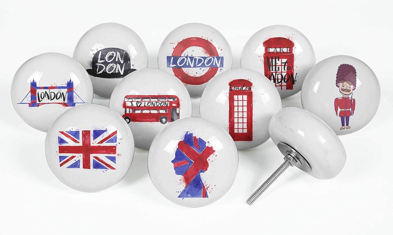 IBA Indianbeautifulart Wei/ß London Symbol 2 Zoll Runden Keramikm/öbelkn/öpfe M/öbelkn/öpfe F/ür Kommoden