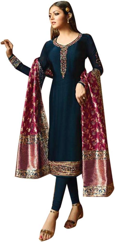 Amazon Com Indian Pakistani Straight Salwar Kameez Suit Banarasi Jaquard Contrast Dupatta Party Embroidery Women S Dress 7834 Home Improvement Lining kurti cutting in hindi !! indian pakistani straight salwar kameez