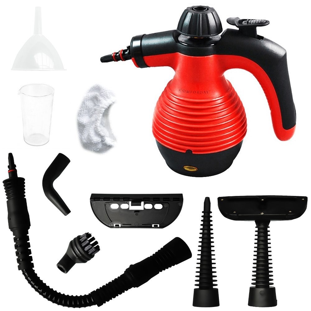 ALL IN ONE Comforday Handheld Steam Cleaner, HIGH PRESSURE Chemical Free Steamer for Bathroom, Kitchen, Surfaces, Floor, Carpet, Grout and more, BEST GERM KILLER and SANITIZER with 9 FREE Accessories FBA_HH2241
