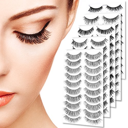 Goldrose 50 Pairs Premium Quality Handmade False Eyelashes Black Long & Natural Fashion Soft Reusable Fake Eye Lash Extension for Makeup Cosmetic (5 Kinds of Style)-with False Eyelash Applicator ()