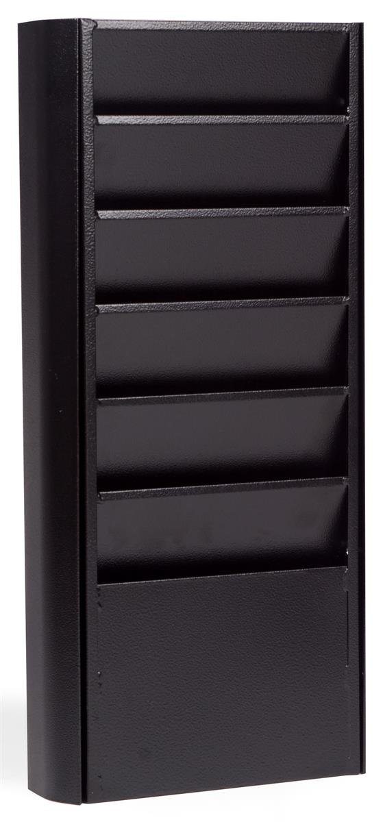 Displays2go Wall Magazine Holder 9-5/8 x 24 x 2-7/8 Inches Textured Black Polished Catalog Rack (JMWM6BLK)