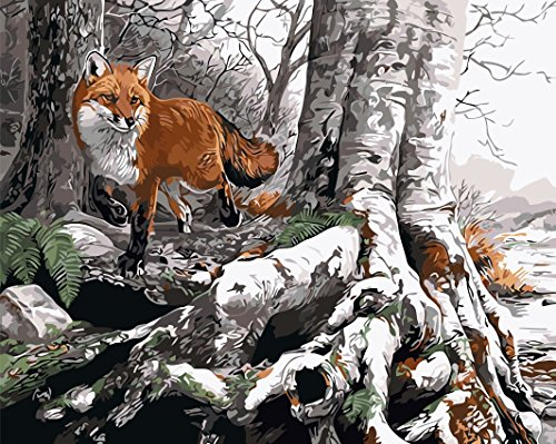 Paint by Number kit The Fox Shuttles In The Winter Forest 16x20 inch [Wooden Frames need to be installed]