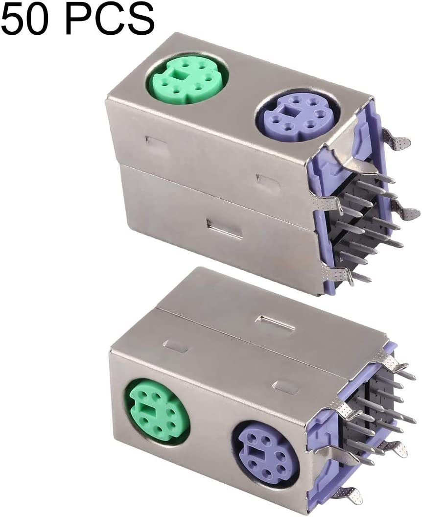 CHENNAN 50 PCS PS2 Green and Purple Band Connector with Production Date Electroplated Nickel Shell Semi-tin 1u Replacement
