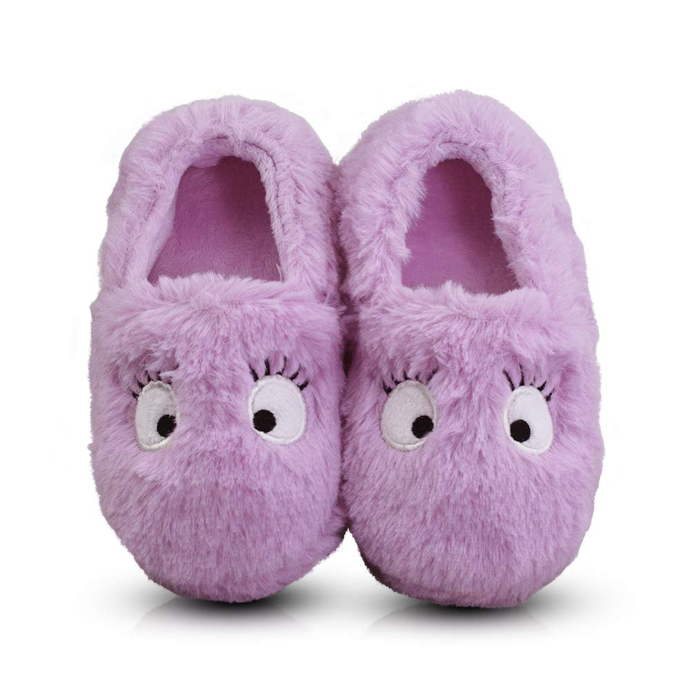 LA PLAGE Little Kid Winter Warm Cozy Plush Indoor Slip-on Slippers for Boys/Girls DM-243