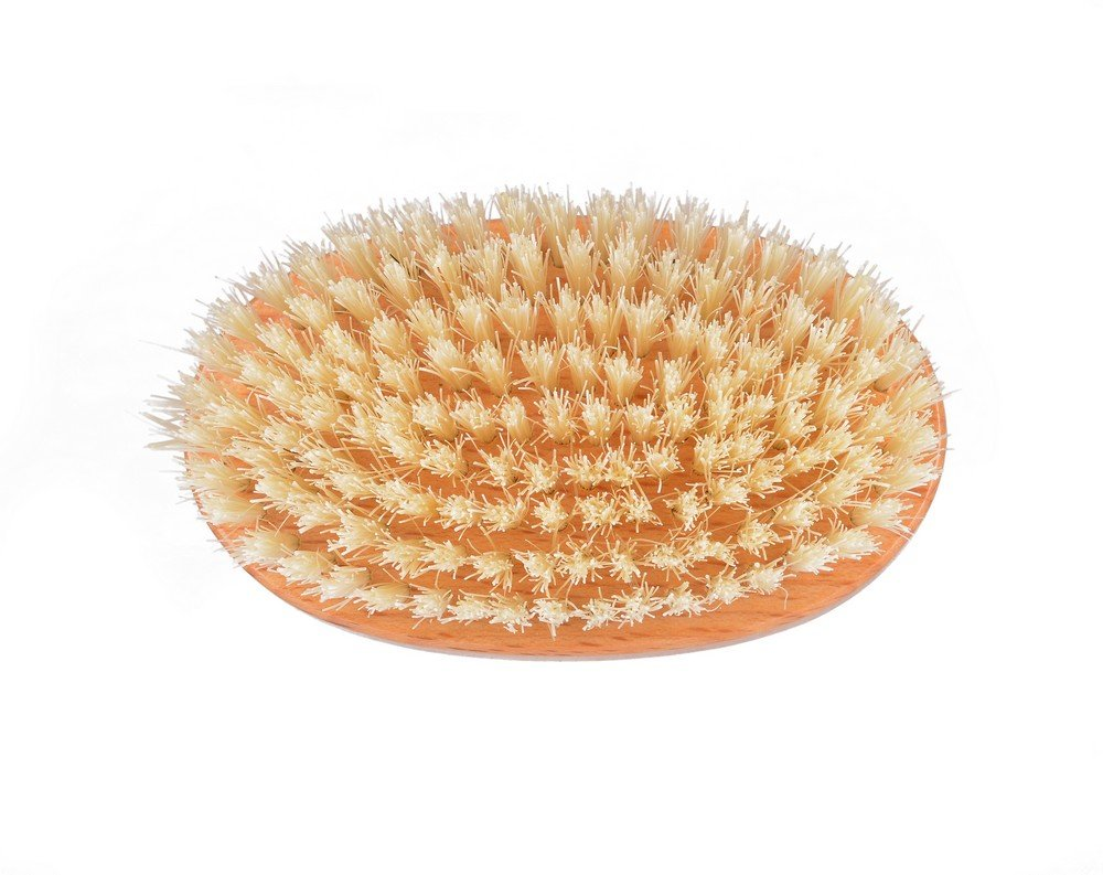 Kent Brushes Extra Large Natural White Bristle Nail Brush Oval Beechwood Handle