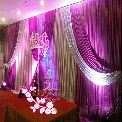 20x10ft Silk Fabric Swag Curtain,Christmas,Birthday Party,Event, Wedding Stage Decorations Backd ...