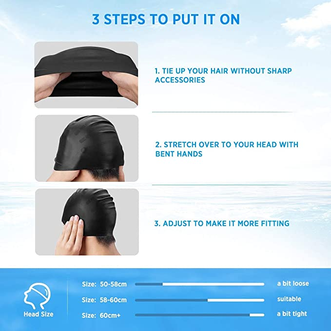 Boys and Girls Average//Large Heads,Anti-Tear,Anti-shedding swim cap for Adults//Youth OMID Swimming Cap for Women//Men Thick or Short Silicone swim hat Ergonomic Ear Pockets for Long Hair