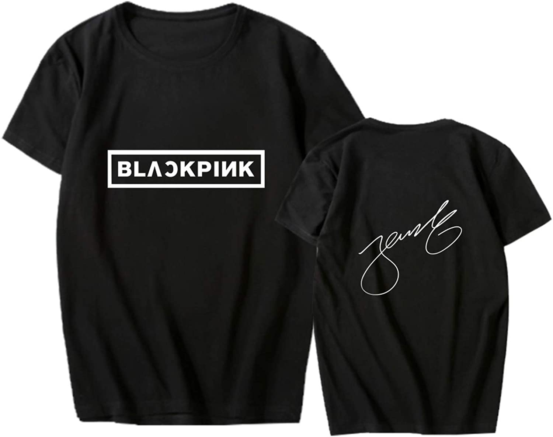 babyhealthy Kpop Blackpink Jisoo Jennie Rose Lisa Black Autograph Cotton Tee Shirt Tops