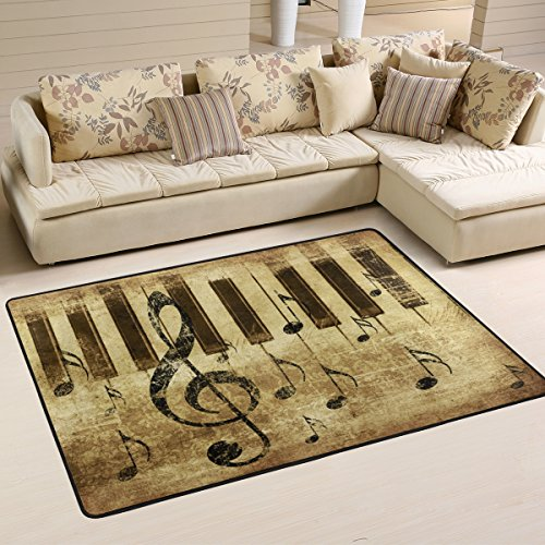 Retro Country Music Note with Piano Keyboard Musical Area Rug Pad Non-Slip Kitchen Floor Mat for Living Room Bedroom 5' x 7' Doormats Home Decor -