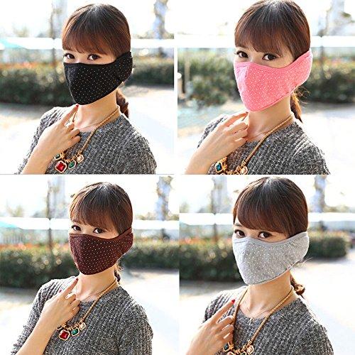 Spritech(TM) 5 Colours Fashion Warm Cotton White Dot Design Mask Anti Dust (Ornate Jean)