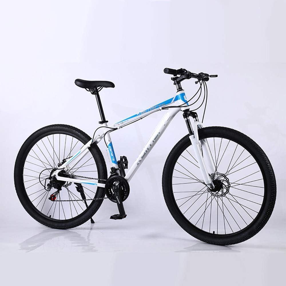 YCHBOS Bicicleta de Montaña de 29 Pulgadas para Hombres, Bicicleta 21/24/27 Velocidades, Bicicleta de Cambio de Marchas, MTB para Adultos Asiento Ajustable y Doble Freno de DiscoWhite blue-21 Speed