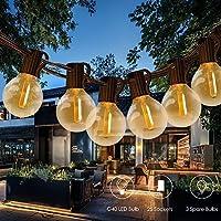 Tomshine Guirnaldas Luces Exterior, 25+3 LED 12m G40 Guirnalda Bombillas, Cadena de Luces Impermeable IP45, Guirnaldas…