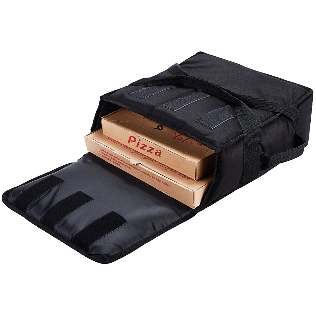 Yopralbags Insulated Food Delivery Bag Pizza Boxes Professional Warmer Carrier Moisture Free for 3-12'' or 3-14'' (Black, 15''X15''X7'')