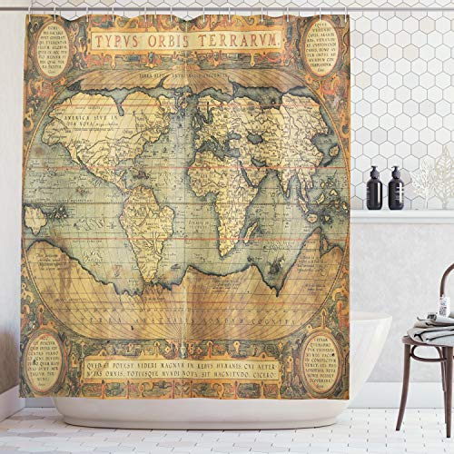 Ambesonne Wanderlust Decor Collection, 16th Century Map of the World History Adventure Boundaries Cartography Civilization Image, Polyester Fabric Bathroom Shower Curtain, 84 Inches Extra Long, Olive
